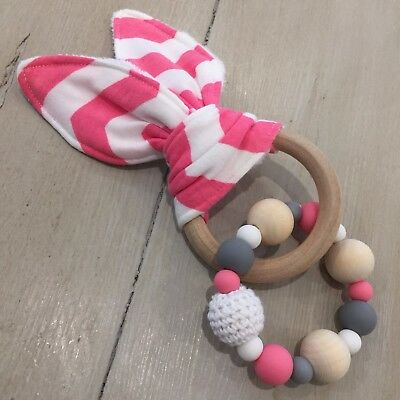 Natural Wood & Silicone Beads,Crinkle Sound Bunny Ears Teething Ring, Pink White