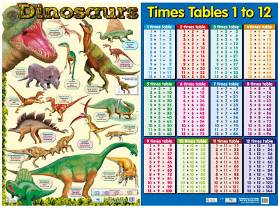 Dinosaur Poster and Times Tables poster -   Educational A2 size - 2 charts