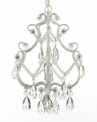 Wrought Iron and Crystal 1 Light Chandelier Pendant White Fixture Lightin... New