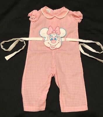 Vtg 50s Catton Candy Minnie Mouse Mickey Baby Girl Overalls Pink Gingham Romper