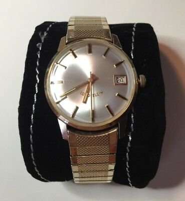 Vintage Lord Elgin 14K Solid Gold Mens Watch, Automatic, Date, Runs Great!