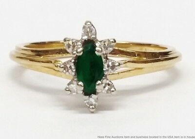 Vintage 14K Yellow Gold Natural Emerald Fine Diamond Ladies Halo Ring Size 6.5