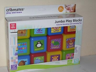 Cribmates Play and Learn Jumbo Play Blocks Set of 12 Plastic Multi Colored New