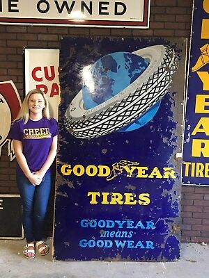 HUGE EARLY Vertical 7' X 4' GOODYEAR Tire Sign PORCELAIN Gas Oil Car Truck OLD