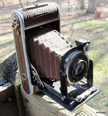 Welta Perle brown leather and brown bellows folding camera