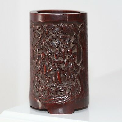 Antique Chinese carved early 19th century bamboo Brush Pot, Qing Dynasty, FINE.
