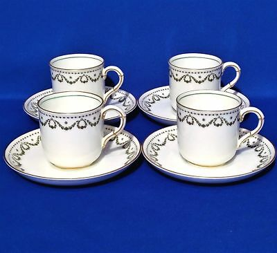 George Jones Crescent Ivory - 4 Coffee Cups & Saucers - Antique Alfred Pearce