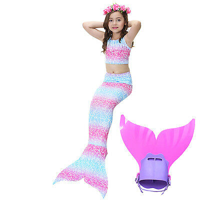 New Kids girls Mermaid Tail Monofin Bikini Swimwear Swimming Costume cosplay 02