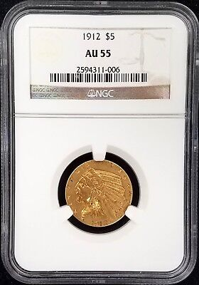 1912 $5.00 Indian Head Half Eagle gold coin graded AU 55 by NGC! NO RESERVE!
