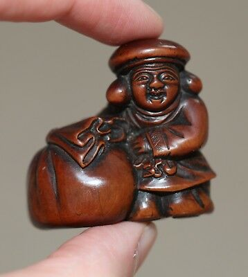 antique Japanese carved Boxwood Netsuke of Daikoku & Sack, 19th century, MEIJI
