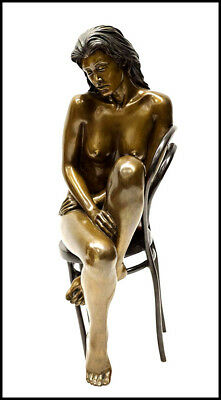 BILL MACK Full Round Bronze Sculpture Solitude Maquette Nude Female Signed Art