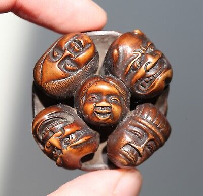 antique Japanese Meiji carved Netsuke group of Masks, signed Gyokumitsu, SUPERB.