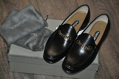 c1236a7939d AUTHENTIC NEW TOM Ford Black Leather York Chain Loafers