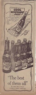 1951 newspaper ad for Canada Dry - Six pack of bottles, bottle rides toboggan