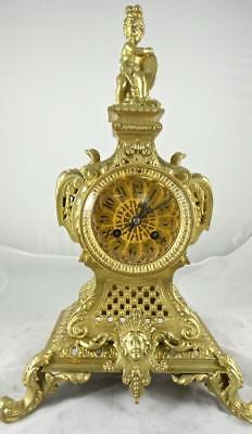 Lovely Antique 19th c French Japy Freres Solid Pierced Gilt Bronze Mantle Clock