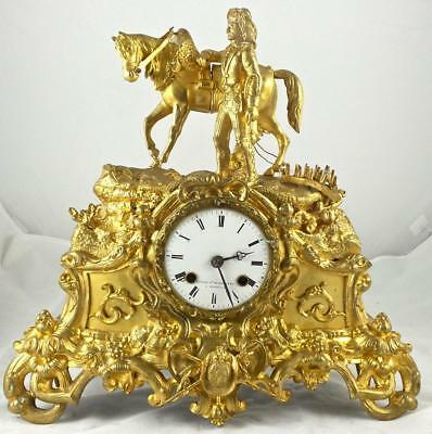 Antique French 19thc  Gilt Ormolu Bronze Mantle Clock - Japy Freres-Plough Horse