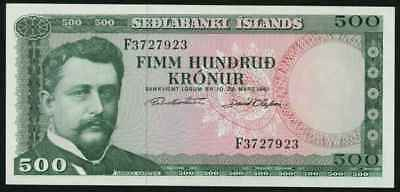 Currency 1961 Central Bank of Iceland Five Hundred Kronur Banknote P45a Crisp AU