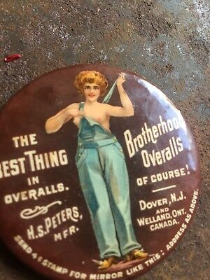 Rare BROTHERHOOD OVERALLS THE BEST THING IN OVERALLS ADVERTISING POCKET MIRROR