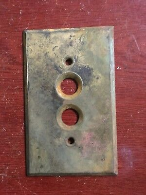 Antique Vintage Brass Push Button Light Switch Plate #5