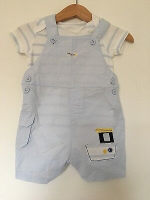 Baby Boys Blue Traditional Style Romper Dungaree Outfit. Boats 3-6 M Monthercare
