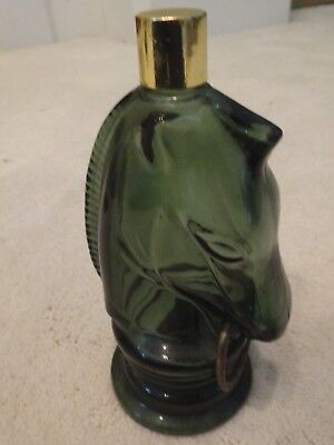 AVON green glass horse head hitching post decanter - No Tag on bottom - empty