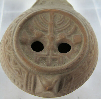 Ancient Early Jewish Oil Lamp w/Menorah Designs 5th-8th Cent AD #7 yqz