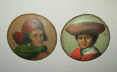 Antique Vtg Late 19th C 1800s Portrait Pair South American Indian on Copper Disc
