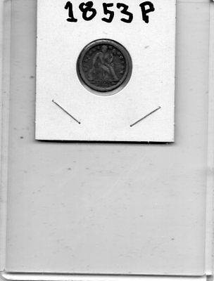 1853-P 10C Circulated Liberty Seated Silver Dime