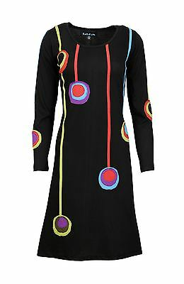 Tattopani Women's Long Sleeved Dress With Colorful Circle And Patch Design