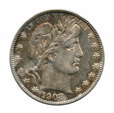 1908-S Barber Silver Half Dollar AU Old Cleaning