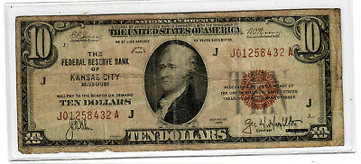 1929 Federal Reserve Bank of Kansas City $10 National Currency circulated
