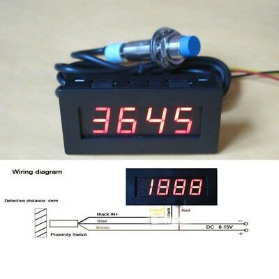 Digital LED Punch Tachometer RPM Speed Meter  Hall Proximity Switch Sensor red