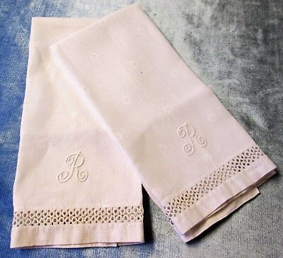 Pair Antique Nubby Linen Towels R Monograms Tatted Trim Great Look!