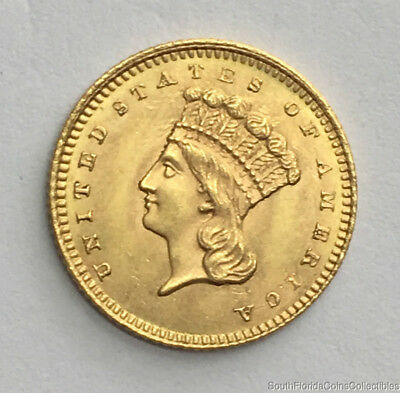 1861 US $1 One Dollar Gold Coin Type 3 Uncirculated Details