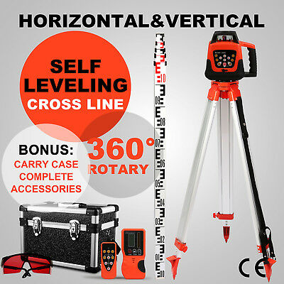 Rotating Rotary Laser Level Red Beam Auto Self Leveling Cross Line+Tripod+Staff