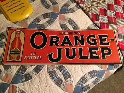 Vintage Antique Orange Julep Soda Cola Tin Non Porcelain Door Push Kicker Sign