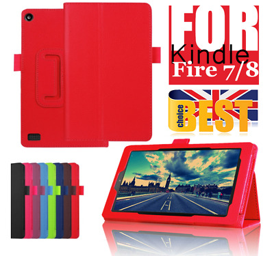NEW SMART LEATHER CASE COVER FOR AMAZON ALEXA KINDLE FIRE 7, FIRE HD 8 Gen Stand