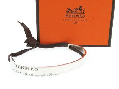 AUTHENTIC HERMES Bangle Blur Scrapes Bangle Silver 925/Leather 0077