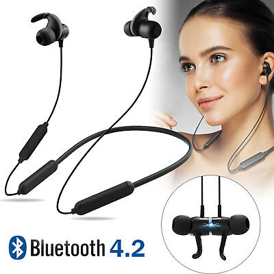 Wireless Bluetooth 4.2 Headset Sport Headphones Stereo Magnetic Earbuds Earphone