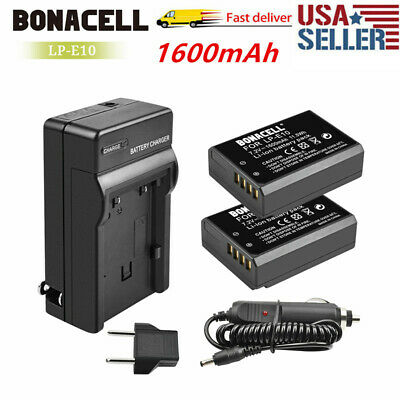 Sale 2x LP-E10 Battery Dual Charger for Canon Rebel T3 T6 Kiss X50 X70 EOS 1100D