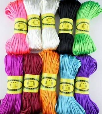 20M Chinese Knot Satin Nylon Braided Cord Macrame Beading Rattail Wire Cords 3mm