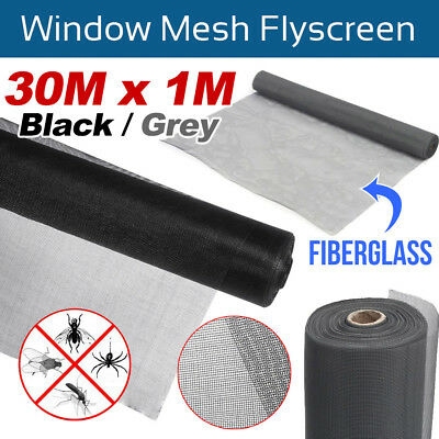 Black/ Grey 30M Roll Insect Flyscreen Flywire Window Fly Screen Net Mesh 100FT