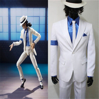 Men's Cosplay Costume Michael Jackson Smooth Criminal Cos White Suit Uniform