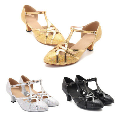 Femme Danse Ballroom Latin Buckle Straps Chaussure Sequins Comfortable Shoes
