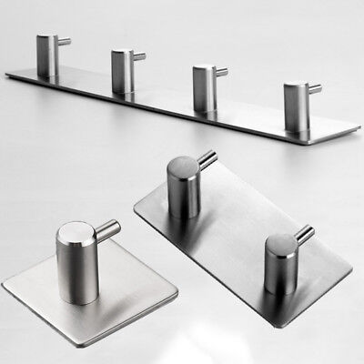 Stainless 1-4 Hooks Wall Cup Hook Kitchen Bathroom Shower Towel Strong Sticker