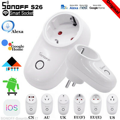 Sonoff S26 TFTTT WIFI Smart Power Socket Wireless Remote Timer UK/EU/EU/AU Plug
