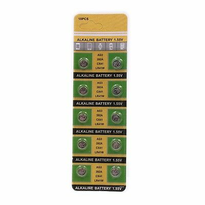 10 Pcs AG3 LR41W 392A CX41 1.5V Button Cell Coin Battery Electronics Watch Toys