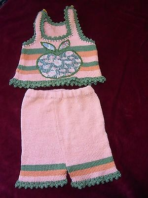 SET SUMMER BEBE COTTON knitting T0-1m VINTAGE 70 SUMMER COTTON BABY'S SUIT s0-1m