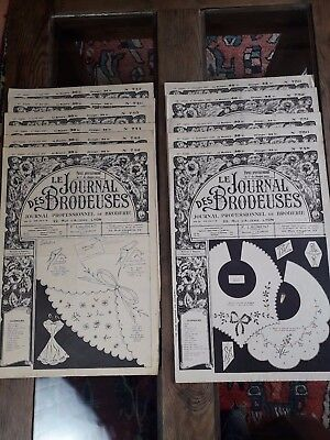 11 Antiguos Periódicos Le Journal Des Brodeuses 1957 Vintage Embroidery Patterns