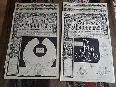 6 Alt Zeitungshalter Le Journal des Brodeuses 1954 Vintage Stickerei Patterns